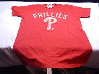 "PHILADELPHIA PHILLIES MLB Genuine BASEBALL T-Shirt Red ""P"" Size Large Mens T1"