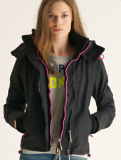 Superdry The Windcheater UK Small Black Pink Jacket Coat Wind Shower Proof R394
