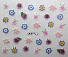 Nail art stickers bijoux d'ongles manucure: Fleurs diverses - multicolores