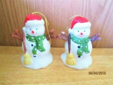 2 Vintage Ceramic Snowmen With Broom Christmas Bells Made In Taiwan R.O.C.