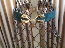 Christian Dior vintage hook front metal CD belt small jewel tone teal