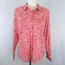 Tommy Hilfiger Womens Button Down Shirt Medium Paisley Floral Pink