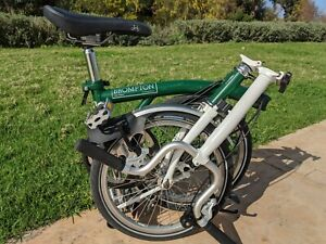 Brompton M2L Green & White 2010 folding bike , good condition , World shipping .