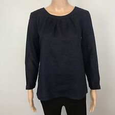 NWT Women's J Crew Navy Linen Blouse Top SZ XS