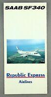 REPUBLIC EXPRESS AIRLINES SAAB SF340 BROCHURE