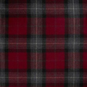 Abraham Moon Skye Red 100% Wool Upholstery Curtain Heritage Check Fabric Tweed