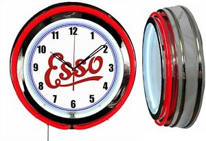 """Esso Oil and Gas 19"""" Double Neon Clock Man Cave Garage Red or Blue Neon Color"""