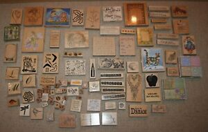 Lot of 75+ Wood Mounted Stamps: Christmas, Baby Boy & More!