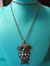 "Bronze Tone Large Owl Pendant Necklace 29"" Black Eyes & Clear Body Stones"