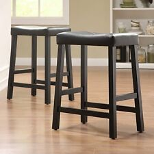 Weston Home Scottsdale Saddle Counter Stool - Set of 2, Black, Set of 2