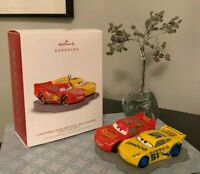 Disney Cars 3 Hallmark Ornament LIGHTNING MCQUEEN CRUZ RAMIREZ NEW Race Car MINT