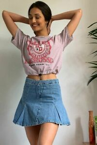 Urban Outfitters BDG iets frans Boxy Pleated Denim Kilt Mini Skirt Blue L UK 12