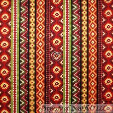 BonEful Fabric FQ Cotton Quilt Brown Red Southwest Stripe Navajo Indian African