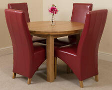 Edmonton Extending Oval Solid Oak Dining Table and 4 Burgundy Leather Chairs