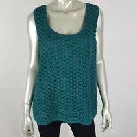 Maggie McNaughton Womens Top Plus Size 3X Green Knit Crochet Overlay Sleeveless