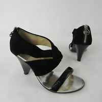 MICHAEL Michael Kors Size 7.5 M Sandals Heels Suede Leather Black Twisted Strap