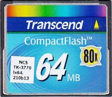 TRANSCEND TS64MCF80 64MB 80X COMPACTFLASH CF CARD - NICE