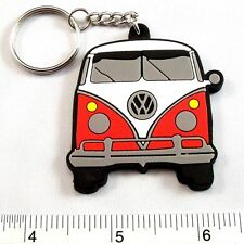 "Volkswagen Van Classic Car Rubber Keyring Key Chain 1.75x2"" Red"