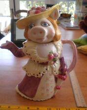 """1980s Miss Piggy ceramic Sigma Pitcher 10.5"""" Muppets RARE"""