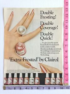 Vintage Magazine Clipping - Ad - Extra Frosted Nail Polish by Clairol 1966 60's