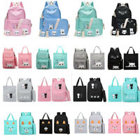 Women Girls Canvas Cat Backpack Student School Book Pen Bags Rucksack 5PCS  !