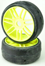 GRP 1/8 GT T02 SLICK S7 MedHrd Pre-Mounted Rubber Tires W/Spoked Wheels GTY02-S7