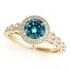 1.11 Ct Blue Diamond Solitaire Engagement Ring 14k Yellow Gold Best Deal on Ebay