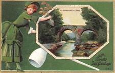 ST. PATRICK'S DAY HOLIDAY IRELAND WEIR BRIDGE EMBOSSED POSTCARD (c. 1910) 279