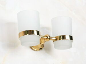 Gold Brass Double Toothbrush Holder Tumbler with 2 Glass Cups Bathroom Lba884