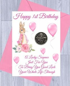 FIRST 1ST BIRTHDAY Gift LUCKY SIXPENCE,  BOY or GIRL, BLUE RABBIT, Gift Card