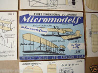"1952 Vintage Micromodels Set AVII (AV2) ""The First to Fly"" Wright & Bleriot 2/6d"
