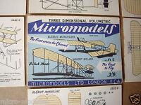 "1952 Vintage Micromodels Set AVII (AV2) ""The First to Fly"" Wright & Bleriot 2/6d"