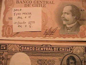1959 5 Peso, 1970 10 Escudo (2 Notes) Chile Ch AU Banknote Currency Paper Money