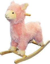 Pink Llama Rocker - Wooden & Plush Rocking Horse Animal Toy Kids Toddlers 1-3 y
