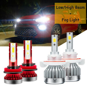 For Kia Soul 2014-2019 White LED Headlight Kit H13 High/Lo Beam + H11 Fog Light