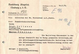 Telegram Ferrostaal AG Essen Germany 1939