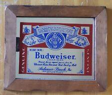 Budweiser Beer Mirror Carnival Prize 1980s Vintage Sign Bar Pub