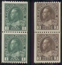 CANADA #131, 134 1¢ green coil pair, og, NH; 3¢ brown coil pair, og, 1NH/1LH, VF
