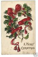A MERRY CHRISTMAS GREETING POSTCARD  1906 BARNESBORO PA