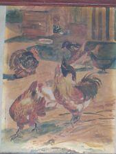 aquarelle basse cour poules par Delporte
