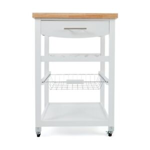 New Wooden Kitchen Utility Trolley Cart Drawer 2 Shelves Cabinet Rack White R1..