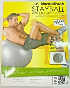 """Nordictrack Exercise Ball 75 cm / 30 """" With Chart And  Dual Action Hand Pump New"""