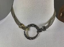 "Choker Chain Necklace 16"" Multiple Chains With Circle Closure"