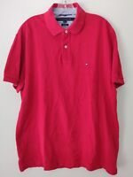 Tommy Hilfiger Mens Custom Fit Solid Color Red Polo Shirt Sz L
