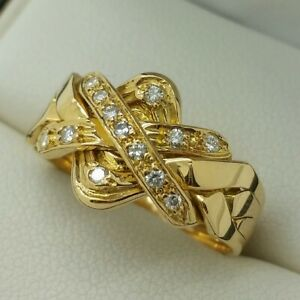 18ct Yellow Gold Diamond Set Fixed Puzzle Ring, Finger Size O