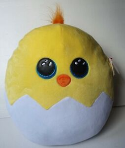"""New Ty Popper Chick Squish-a-boos Collection Soft Toy Plush Cushion 14"""" (24cm)"""