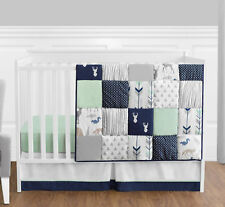 Sweet Jojo Bumperless Navy Blue Gray Forest Animal Baby Boy 4p Crib Bedding Set