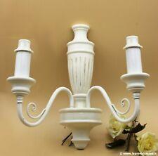 Maltinti Renzo Applique Shabby Legno Bianco Lampada da parete Retrò a due luci