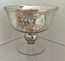 Silver Mercury Glass Footed Bowl from styleboxe