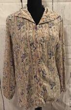 Melrose Silk Collection Sz 18 Plus Size 100% Silk Cream Floral Button Up Top